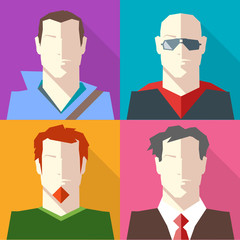 Men in Formal and Casual Clothes Vector icon set. Brunette man in Hoodie. Bald Man in Sunglasses. Redhead man with Beard. Man in Suit and Red Tie. Digital background vector illustration.