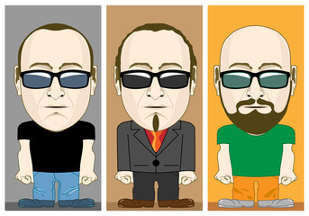 Cartoon Male Characters set. Man with Buzzed Hair and Clean Shaven. Man in Suit with Short Wavy Hair and Long Soul Patch. Bald Man in Casual Outfit with Full Beard. Beard Styles. Vector illustration.