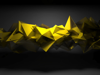 Yellow chaotic polygonal structure, 3d render - fototapety na wymiar