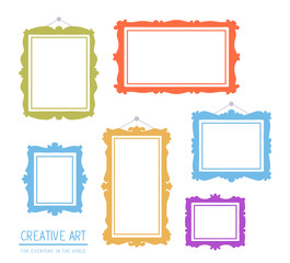 Vector illustration of colorful set of frames isolated on white