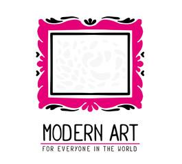 Vector illustration of pink and black color rectangular frame in