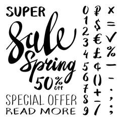 super Spring Sale Lettering Typography Design. Vector Spring Sale lettering logo. Hand drawn spring sale lettering banner. Vector isolated Spring typography design element. Big Spring Clearance