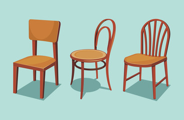 Collection of wooden chairs. Cartoon isolated vector illustration.