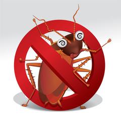 cockroach repellent vector , stop cockroach sign , no cockroach. Vector illustration