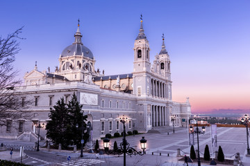 Almudena Cathedral in Madrid,Spain at dusk