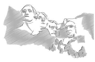 Mount Rushmore Sculpture Sketched Vector Illustration
