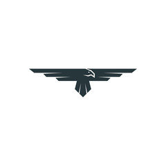 Eagle logo mockup, predator bird wings silhouette, aviation emblem design element