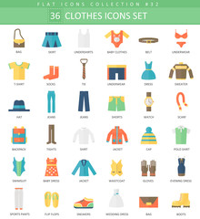 Vector Clothes color flat icon set. Elegant style design.