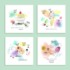 Watercolor art with cupcakes and  ice cream. Four creative cards