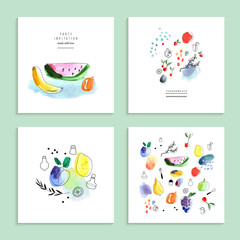 Watercolor art. Fruits, berries. Set of four creative cards.