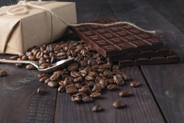 coffee beans and dark chocolate