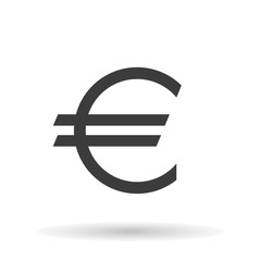 Euro icon the exact sizes with shadow on a white background, stylish vector illustration