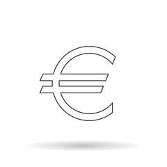 Euro icon silhouette the exact sizes with shadow on a white background, stylish vector illustration