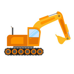 Illustration of excavator on white background.