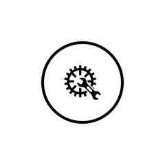 Setup icon in the form of gears and wrench.