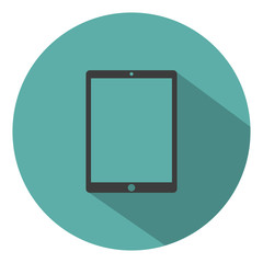 Tablet computer icon flat style with shadow on a green background, vector illustration