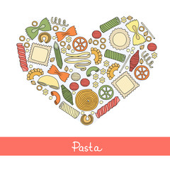 Stylized heart with hand drawn Italian pasta