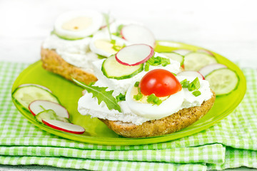 spring healthy sandwich with vegetable