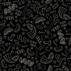 Vector seamless pattern with hand drawn Italian pasta on black color