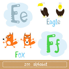 Colored letters of the alphabet next to images of abstract characters funny animals isolated on white background