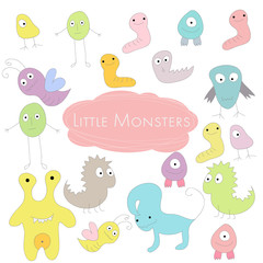 Little funny colored Monsters Doodle