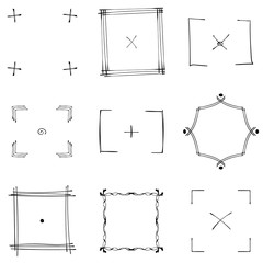 Set of nine square black doodle frames.