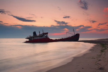 Ship after wreck on the coast