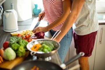 Midsection of wife preparing food with husband