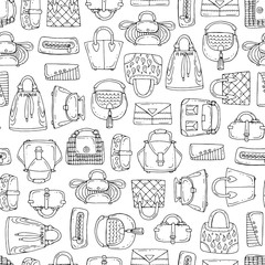 Vector seamless pattern with hand drawn handbags for women on white color