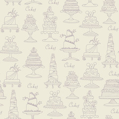 Vector seamless pattern with hand drawn isolated cakes on beige color
