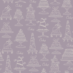 Vector seamless pattern with hand drawn isolated cakes on purple