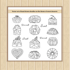 Vector set of hand drawn doodles on the theme of sweet desserts
