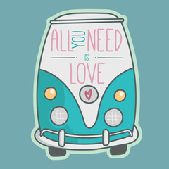 All you need is love. Blue van illustration.