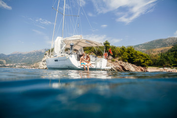 couple yacht honeymoon sailing luxury cruise