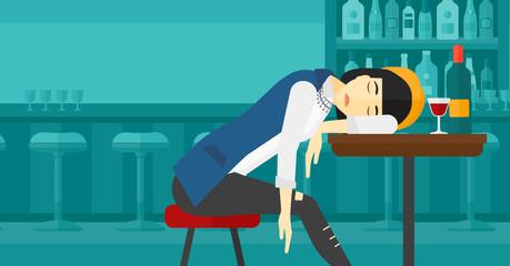 Woman sleeping in bar.