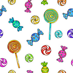 Set of candies and lollipops. Lollipop seamless pattern. Candy on stick with bow for design. Animation illustrations. Handwork. Ornament for fabrics