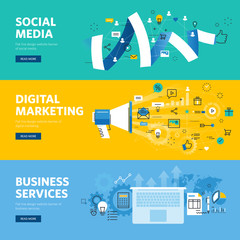 Set of flat line design web banners for social media, internet marketing, networking and business services. Vector illustration concepts for web design, marketing, and graphic design.