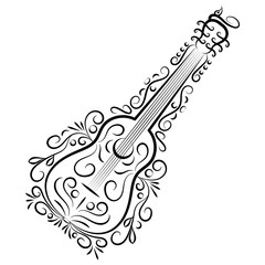 Doodle hand drawn abstract guitar