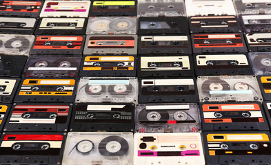 Collection of audio cassettes, closeup