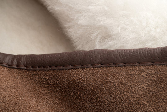 Stitched Leather on Edge of Shearling