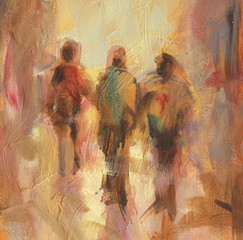 Walking people handmade  painting