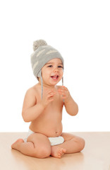 Adorable baby with wool cap