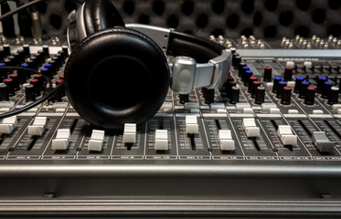 headphone,sound mixer background.
