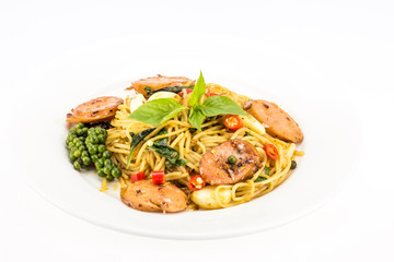 Spaghetti with pepper isolated