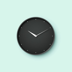 Icon of black clock face with shadow on mint wall background. Vector Illustration