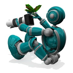 3D Photographer Robot Turquoise Color With DSLR Camera And White Lens, Butterfly on Thumb in Right Hand, Macro Photography