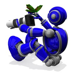 3D Photographer Robot Blue Color With DSLR Camera And White Lens, Butterfly on Thumb in Right Hand, Macro Photography