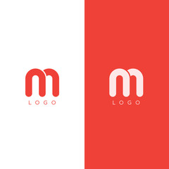 M Letter Logo design template in red color. Graphic Alphabet Symbol for Corporate Business Identity. Creative Typographic Icon Concept