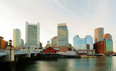 Boston Skyline Showing Financial District and Tea Party Museum,  Boston, USA.