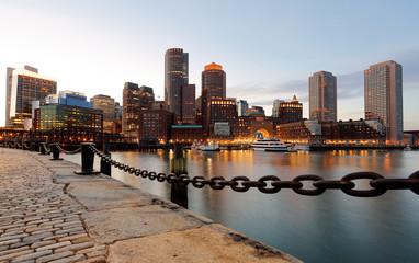 Boston Financial District at Sunset, Boston, Massachusetts, USA